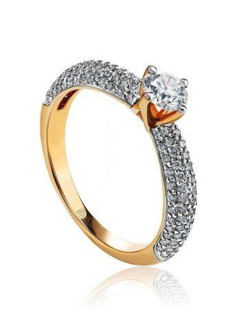Golden Statement Ring With Diamonds, Ring Size: 6.5 / 17, image
