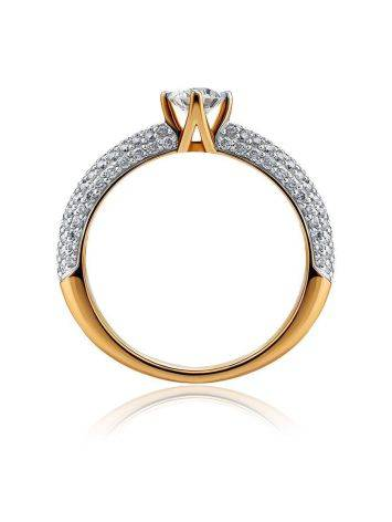 Golden Statement Ring With Diamonds, Ring Size: 6.5 / 17, image , picture 3