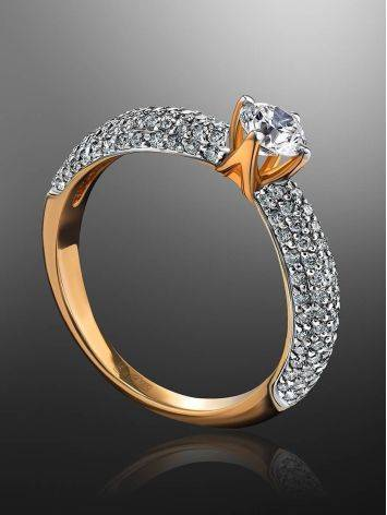 Golden Statement Ring With Diamonds, Ring Size: 6.5 / 17, image , picture 2