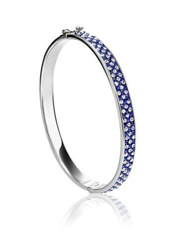 Silver Hinged Clasp Bracelet With Blue And White Crystals The Eclat, image