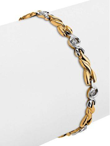 Two Toned Golden Bracelet With Crystals, image , picture 3