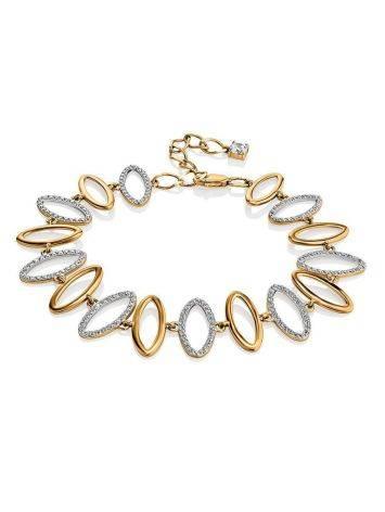 Golden Link Bracelet With Crystals, image