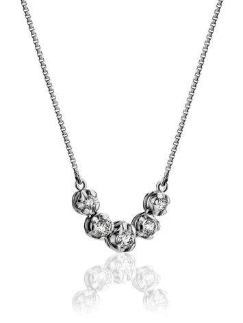 White Gold Chain Necklace With White Diamonds, image , picture 3