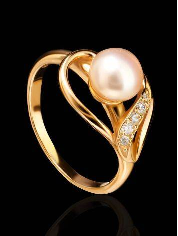 Statement Gold-Plated Ring With Cultured Pearl Centerpiece And Crystals The Serene, Ring Size: 7 / 17.5, image , picture 2