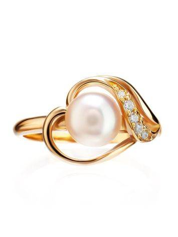 Statement Gold-Plated Ring With Cultured Pearl Centerpiece And Crystals The Serene, Ring Size: 7 / 17.5, image , picture 3