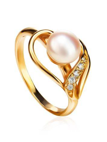 Statement Gold-Plated Ring With Cultured Pearl Centerpiece And Crystals The Serene, Ring Size: 7 / 17.5, image