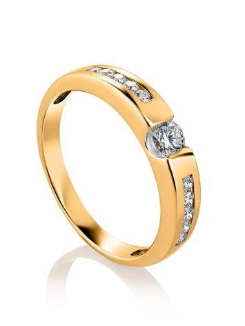Golden Ring With White Diamonds, Ring Size: 6 / 16.5, image