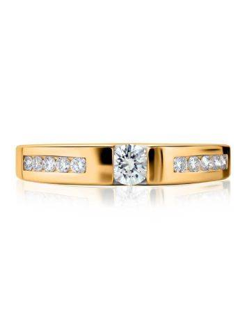Golden Ring With White Diamonds, Ring Size: 6 / 16.5, image , picture 3