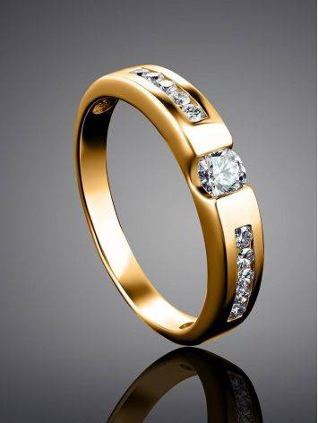 Golden Ring With White Diamonds, Ring Size: 6 / 16.5, image , picture 2