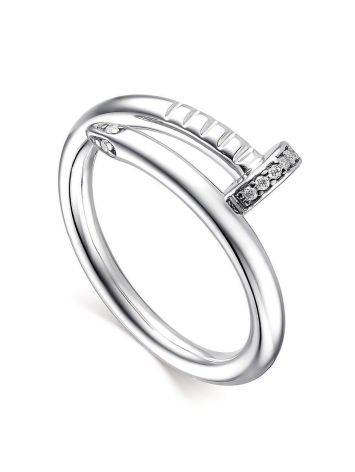 Stylish Silver Ring With White Crystals, image