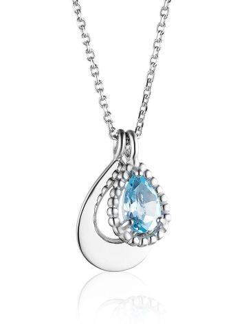 Silver Necklace With Synthetic Topaz Pendant, image
