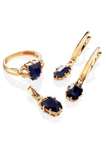 Golden Dangles With Synthetic Sapphires, image , picture 3