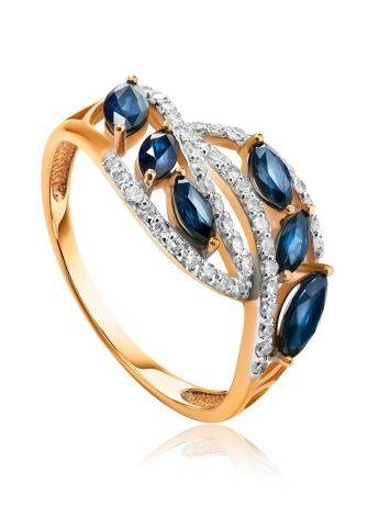 Golden Statement Ring With Sapphires And Diamonds, Ring Size: 7 / 17.5, image
