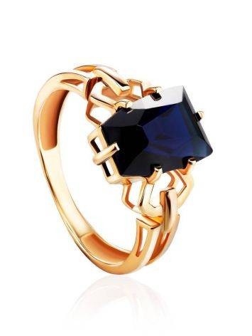 Geometric Golden Ring With Synthetic Sapphire, Ring Size: 8 / 18, image