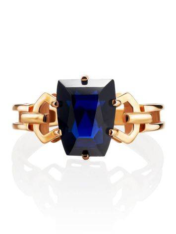 Geometric Golden Ring With Synthetic Sapphire, Ring Size: 8 / 18, image , picture 3