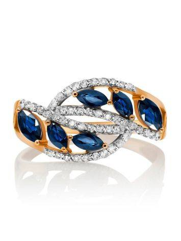 Golden Statement Ring With Sapphires And Diamonds, Ring Size: 7 / 17.5, image , picture 3