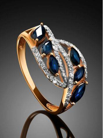 Golden Statement Ring With Sapphires And Diamonds, Ring Size: 7 / 17.5, image , picture 2