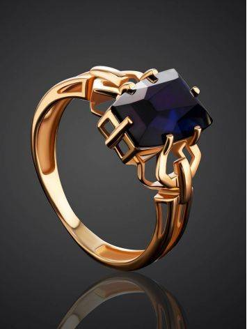 Geometric Golden Ring With Synthetic Sapphire, Ring Size: 8 / 18, image , picture 2