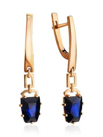 Golden Dangles With Synthetic Sapphires, image