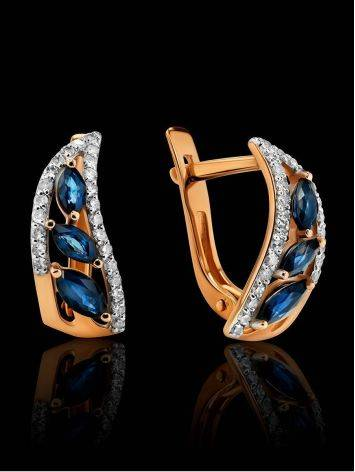 Golden Sapphire Earrings With Diamonds, image , picture 2