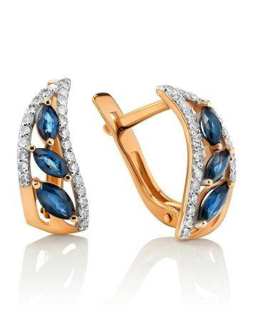 Golden Sapphire Earrings With Diamonds, image