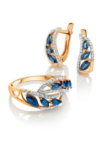 Golden Statement Ring With Sapphires And Diamonds, Ring Size: 7 / 17.5, image , picture 4