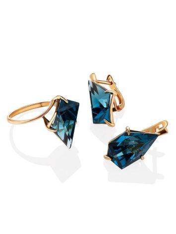 Futuristic Golden Earrings With Synthetic Topaz, image , picture 3