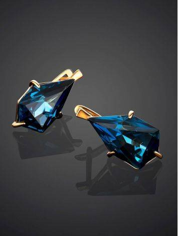 Futuristic Golden Earrings With Synthetic Topaz, image , picture 2
