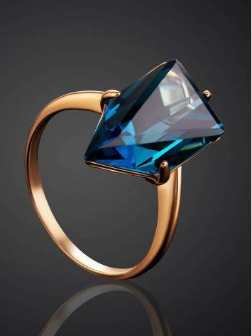 Futuristic Golden Ring With Synthetic Topaz, Ring Size: 7 / 17.5, image , picture 2