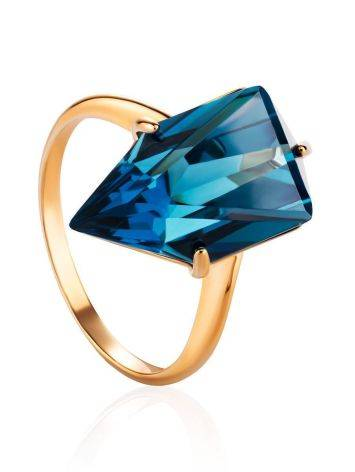 Futuristic Golden Ring With Synthetic Topaz, Ring Size: 7 / 17.5, image