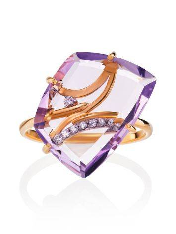 Amethyst Golden Cocktail Ring With Crystals, Ring Size: 6.5 / 17, image , picture 3