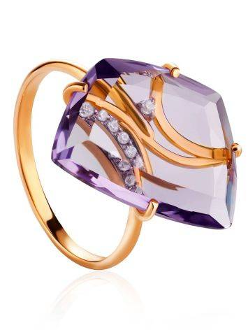 Amethyst Golden Cocktail Ring With Crystals, Ring Size: 6.5 / 17, image