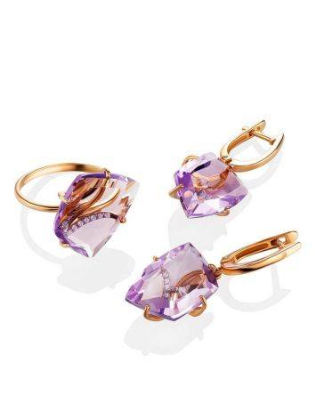 Amethyst Golden Cocktail Ring With Crystals, Ring Size: 6.5 / 17, image , picture 4
