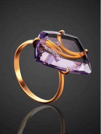 Amethyst Golden Cocktail Ring With Crystals, Ring Size: 6.5 / 17, image , picture 2