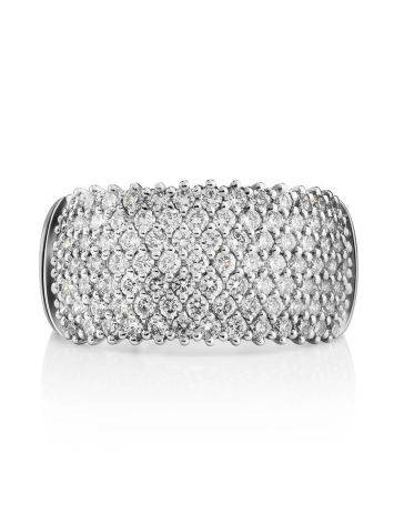 White Gold Band Ring With Diamonds, Ring Size: 8 / 18, image , picture 3