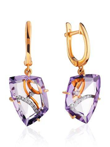 Amethyst Golden Dangles With Crystals, image
