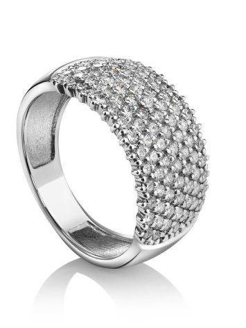 White Gold Band Ring With Diamonds, Ring Size: 8 / 18, image