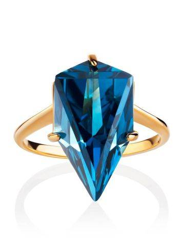 Futuristic Golden Ring With Synthetic Topaz, Ring Size: 7 / 17.5, image , picture 3