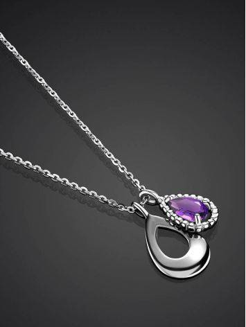 Silver Necklace With Teardrop Amethyst Pendant, image , picture 2