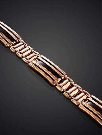 Golden Link Bracelet With Black Enamel, image , picture 2