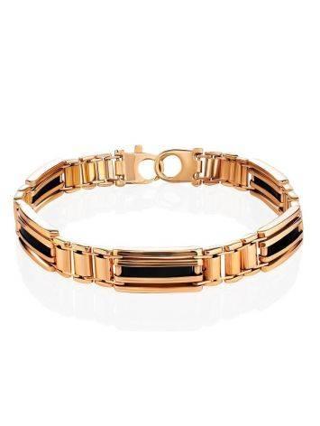 Golden Link Bracelet With Black Enamel, image