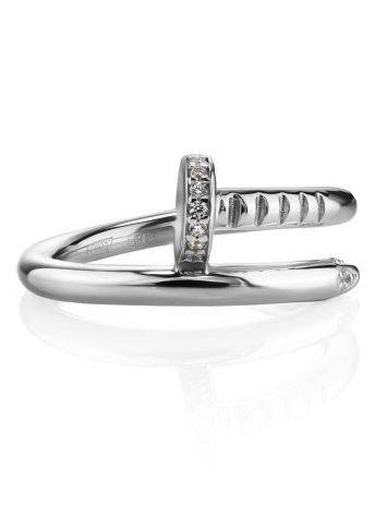 Stylish Silver Ring With White Crystals, image , picture 3