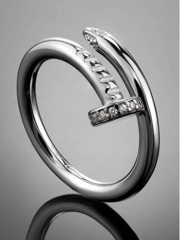 Stylish Silver Ring With White Crystals, image , picture 2