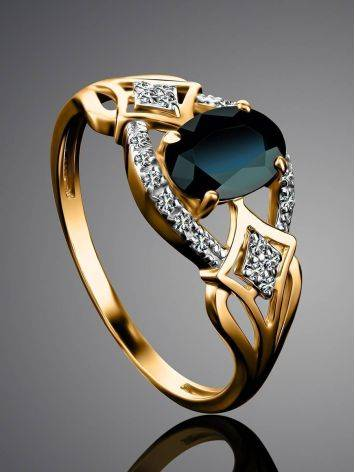 Golden Sapphire Ring With Diamonds The Mermaid, Ring Size: 8 / 18, image , picture 2
