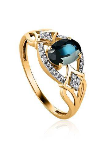 Golden Sapphire Ring With Diamonds The Mermaid, Ring Size: 8 / 18, image