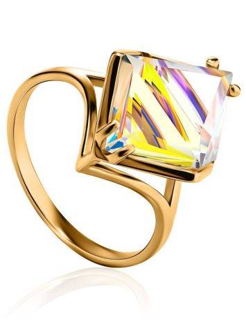 Geometric Golden Ring With Synthetic Quartz, Ring Size: 9 / 19, image