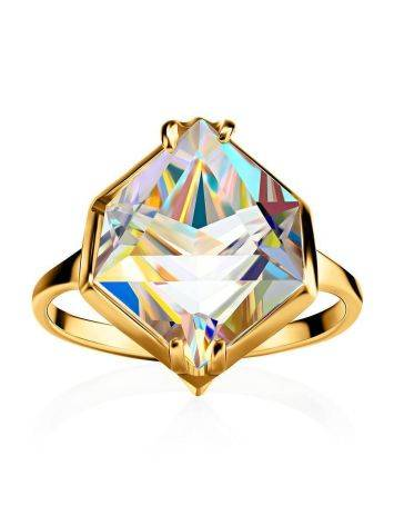 Geometric Golden Ring With Synthetic Quartz, Ring Size: 9 / 19, image , picture 4