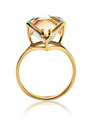 Geometric Golden Ring With Synthetic Quartz, Ring Size: 9 / 19, image , picture 3