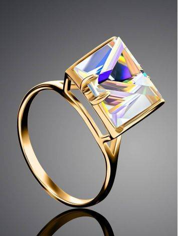 Geometric Golden Ring With Synthetic Quartz, Ring Size: 9 / 19, image , picture 2