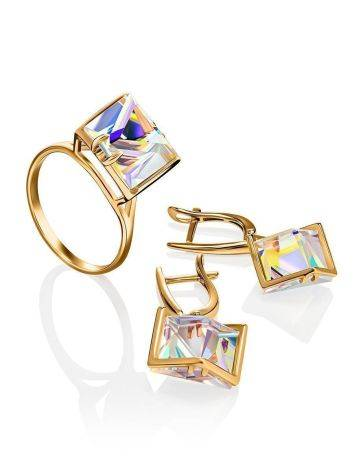 Geometric Golden Ring With Synthetic Quartz, Ring Size: 9 / 19, image , picture 5